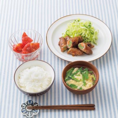 彩り野菜の肉巻きとニラのかき玉汁定食