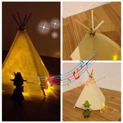 【子どもの工作】「スナフキンのテント」みたいな間接照明を作ろう♪♪