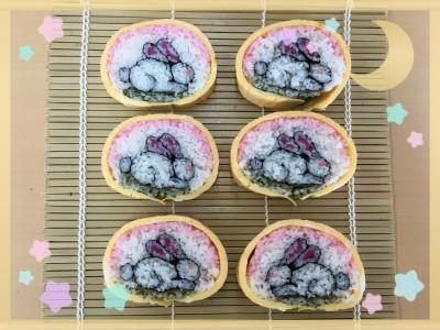 【行事】中秋の名月 ウサギの飾り巻き寿司と巻き寿司教室にて
