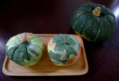 紙粘土とお花紙でつくる「かぼちゃのオブジェ」