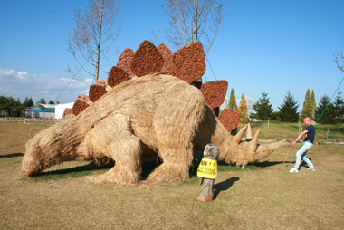 迫力満点! わらアートの恐竜たち