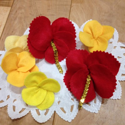 お遊戯会の衣装の飾りに【お花の作り方】縫わずに♪3ステップだけでできる