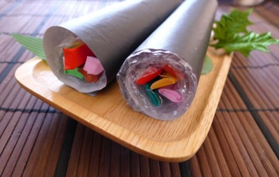 節分に!折り紙と緩衝材で作る「恵方巻」