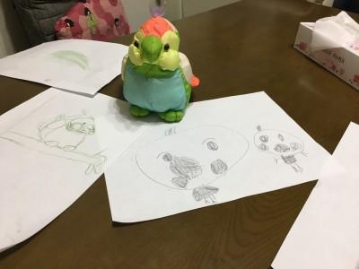 【1年冬休み】宿題の取り組み方と初めての書き初め。長女の絵が凄かった!