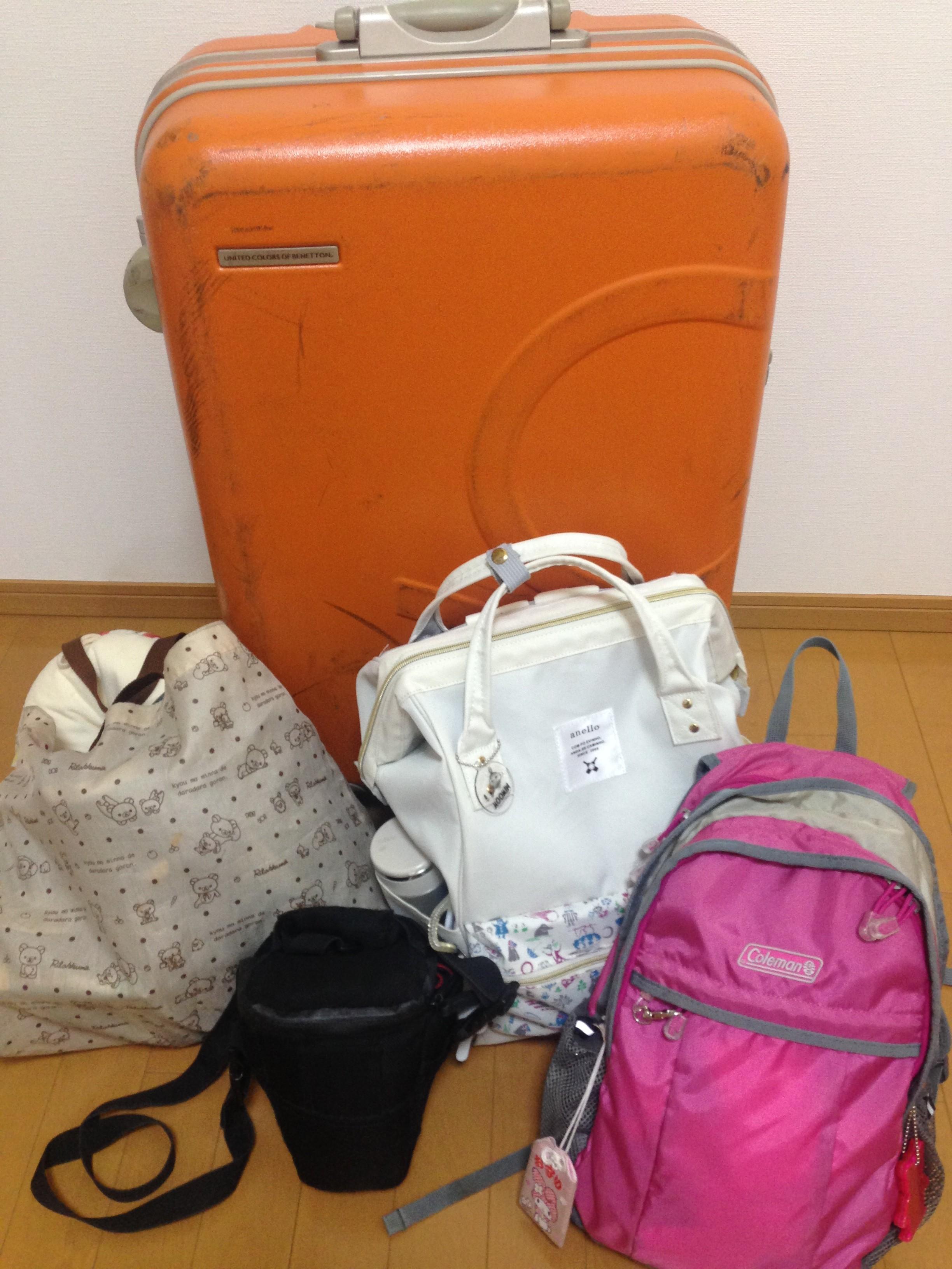 f30da766d2 預け荷物は1人1つ(今回の場合、私と娘で各々1つづつ)預けられるけど、家族でまとめてスーツケース1つのみ。
