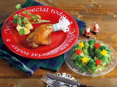 骨付きクリスマスチキン・リースサラダ