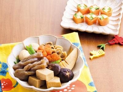 野菜たっぷり煮しめ・キュウリとチーズのサーモン巻き