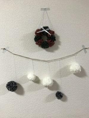 毛糸のポンポンで簡単クリスマス飾り
