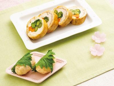 菜の花とニンジンの春野菜チキンロール・桜餅風マッシュポテト