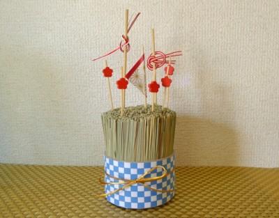 お正月ピックのベース:「い草束」をハンドメイド