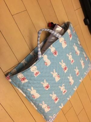 【直線縫いだけで作る防災頭巾カバー】横長・柄に向きがある布で作ってみた