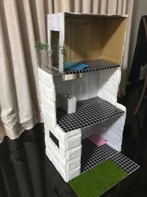 【リカちゃんハウス3】段ボールと100均アイテムでドールハウス作り