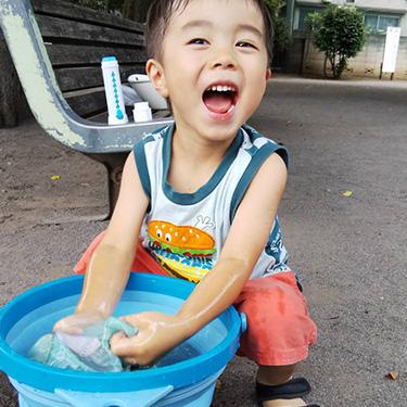 石けんがケースに入っているのでつ使いやすい!長男は楽しく予洗いをしてくれます。