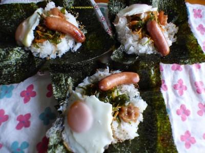 【我が家の朝食】ずぼら母ちゃんのおかず全部乗せちゃえ!爆弾おにぎり!!