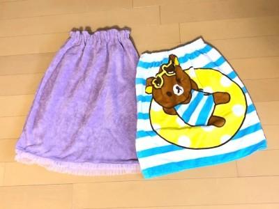 【プール】スナップ付で広げて干せる!バスタオル使用ラップタオルの作り方
