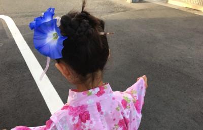 夏祭り・花火大会【ダイソーの造花で】浴衣に朝顔のかんざし・簡単な作り方