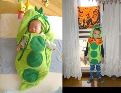 ☆ハロウィン☆枝豆に仮装!赤ちゃんの「おくるみ」をリメイク