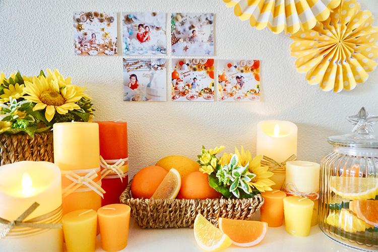 子どもだけでなく、家族の成長記録に。自宅では壁に貼ってフォトコーナーを作ってみました