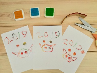 幼児絵画インストラクターが教える、子どもと手作り「段ボールスタンプ」年賀状
