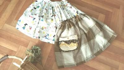 型紙なしでズボラハンドメイド!ママの服をリメイク→子供スカートへ!