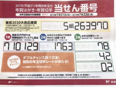 お年玉付年賀はがき当選番号発表!4月にもう1回チャンスが!!