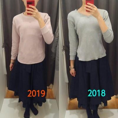 ユニクロ新作ワッフルクルーネックTシャツ長袖、昨年のワッフルTとの比較