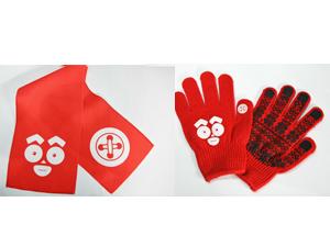 『けだまのゴンじろー』オリジナルマフラータオルとスマートフォン対応手袋をセットで3人に