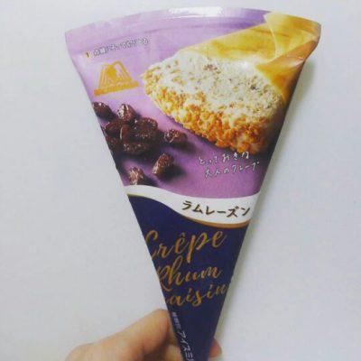 【セブンイレブン限定】森永クレープアイスラムレーズンは大人の味わい!