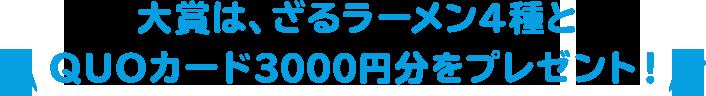 大賞には、ざるラーメン4種とQUOカード3000円分をプレゼント!