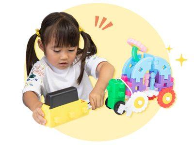 車や恐竜を動かしてみたよ!「学研のニューブロック プログラミング」