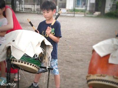 子ども会で地域貢献!ふるさとまつりに向けて和太鼓練習してます!