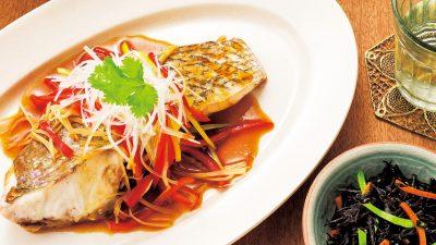 【RIZAP公式レシピ】耐熱皿に入れるだけ!「マダイの酒蒸し中華ソース」