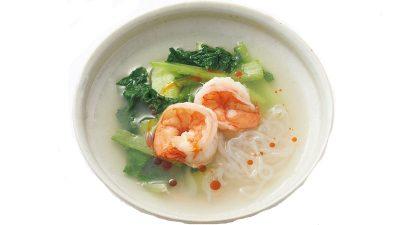 【RIZAP公式レシピ】ラー油がアクセント!「エビとチンゲンサイの中華スープ」